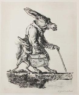 Der kluge Fuchs bringt den Esel auf dem Wege voran (Lithographie von A. Paul Weber)
