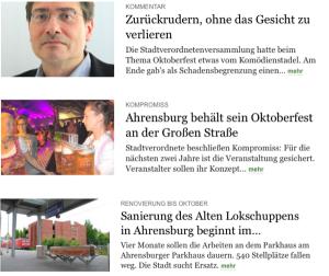 Stormarn-Redaktion vom Hamburger Abendblatt: Heute online mit Teil-Nachrichten vom Montag (Bild: HDZ)