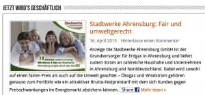 Werbung der Stadtwerke Ahrensburg auf ahrensburg24 (Bild: HDZ)
