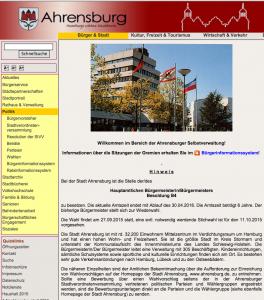 Homepage der Stadt Ahrensburg vom 18. Oktober 2015