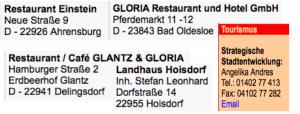 Restaurants für Touristen, die Ahrensburg besuchen wollen
