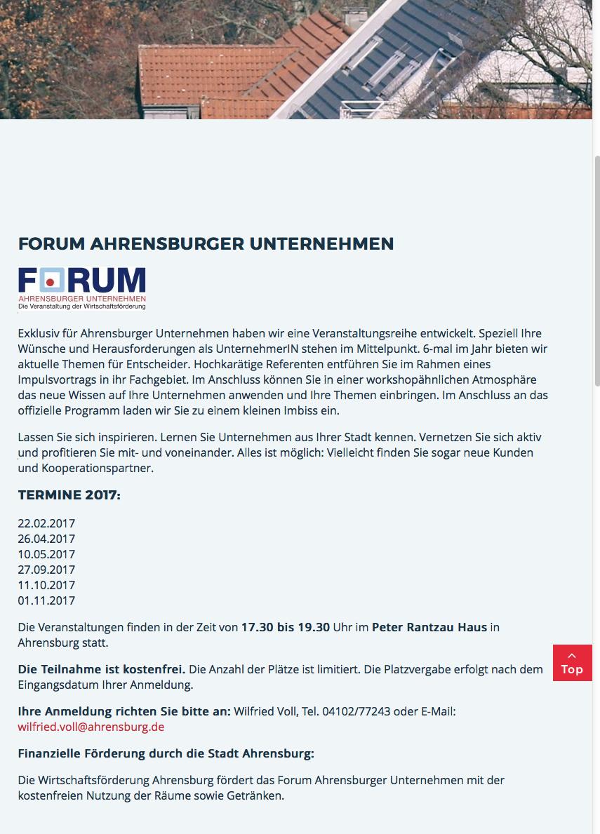 Die Wirtschaftsförderung Ahrensburg fördert das Forum Ahrensburger ...